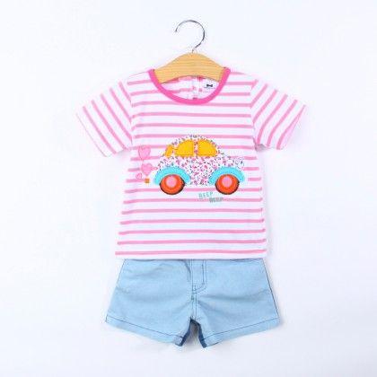 Girl's 2 Piece Car Print Top And Denim Short Set - Dapper Dudes