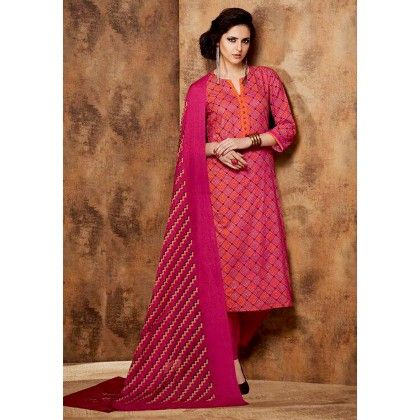 Pink Printed Cotton Dress Material - Afreen