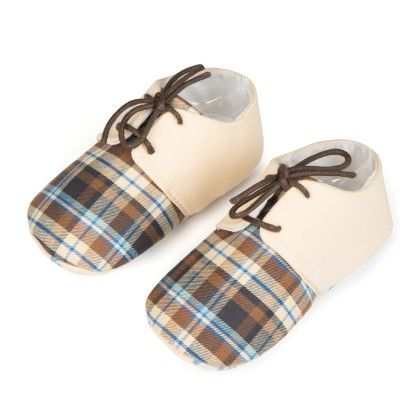 Checks And Lace Unisex Shoes - Brown - Jute Baby