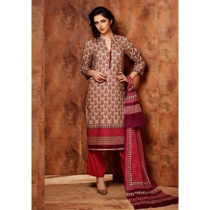 Beige & Maroon Printed Cotton Dress Material - Afreen