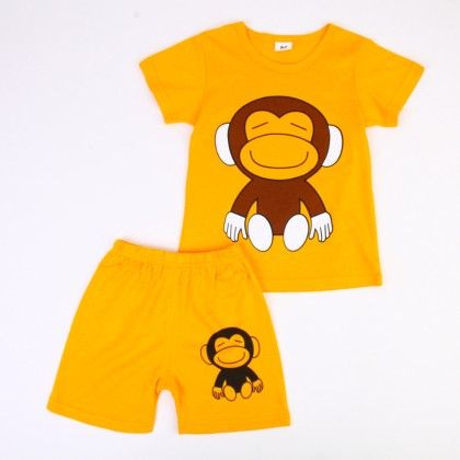 Cute Monkey Print Top & Shorts Set - Yellow - Ton