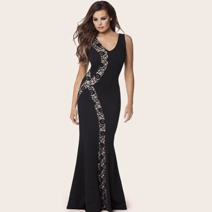 Beautiful Lace Highlighted Evening Maxi Dress - Mauve Collection