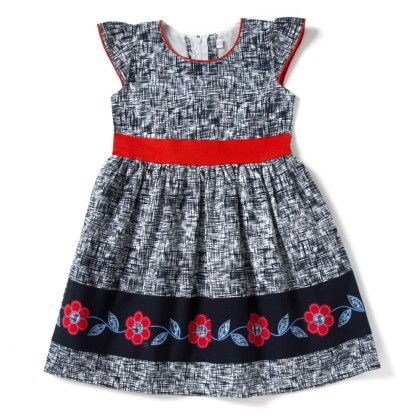 Hashtag Flower Summer Dress - Black And White - Kid1