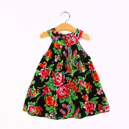 Black Floral Halter Neck Dress - Child NY