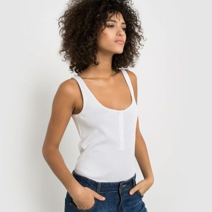 Blanc Buttoned Tank Top - La Redoute