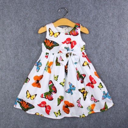 White Butterfly Print Dress - Kehzo Kids