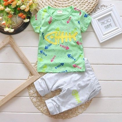 Green Fish Print Tees With Capri Set - Lil Mantra