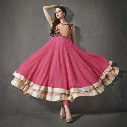 Orange & Pink Embroidered Unstitched Suit - Naari Aavran
