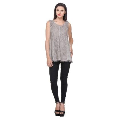 Olive Cotton Jersey/lace Printed Lace Tunic - Varanga