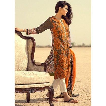 Sana Safinaz Rust Embellished Semistitched Suit - Mauve Collection