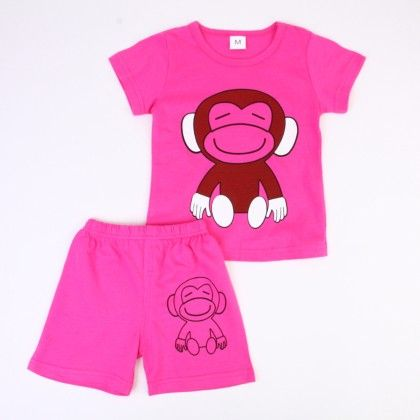 Cute Monkey Print Top & Shorts Set - Fuschia - Ton