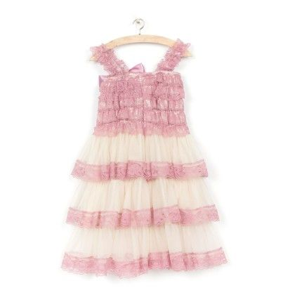 Pink And White Lace Ruffles Dress - Angel Closet