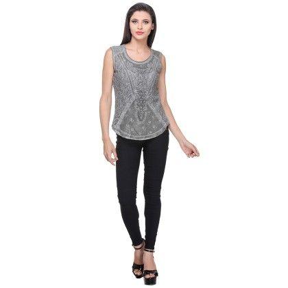 Olive Cotton Jersey/lace Printed Lace Top - Varanga