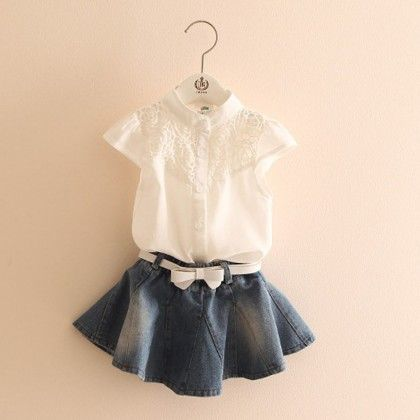 Denim Skirt And White Lace Shirt Set - Mauve Collection