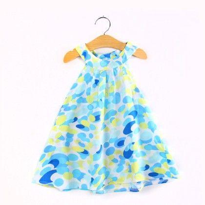 Trendy Abstract Print Halter Neck Dress- Blue - Child NY