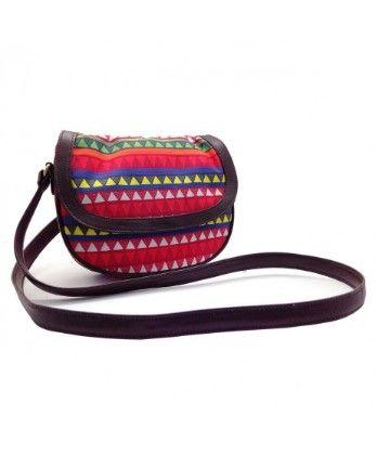Leather Sling Bag Triangle Warli - The Elephant Company