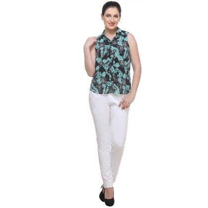 Green & Black Print Georgette Printed Shirt - Varanga