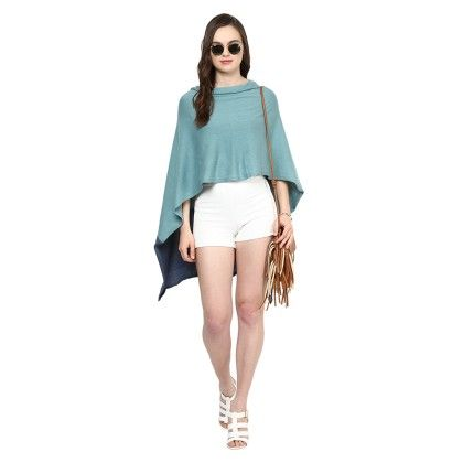 Knitted Poncho Cape Wrap Top Summer Blue - Pluchi