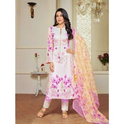 White & Pink Embroidered Unstitched Suit - Naari Aavran