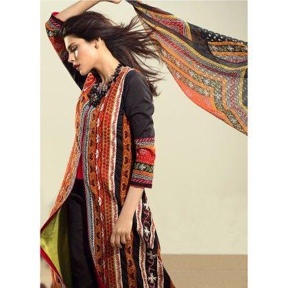 Sana Safinaz Black Embroidered Semistitched Suit - Mauve Collection