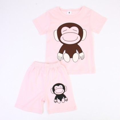 Cute Monkey Print Top & Shorts Set - Light Pink - Ton