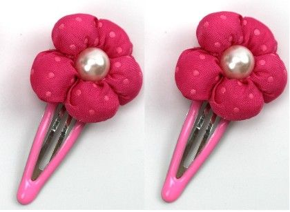 Hot Pink Pearl Dotted Flower Hair Clip - Flaunt Chic
