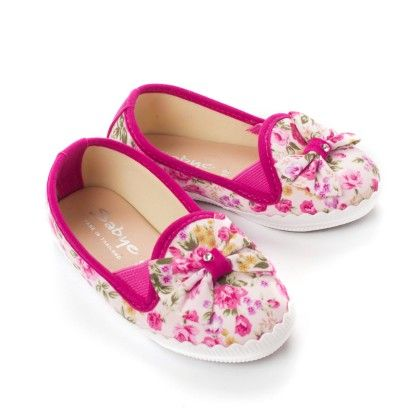 Pink Floral Print With Bow Shoes - Balloon