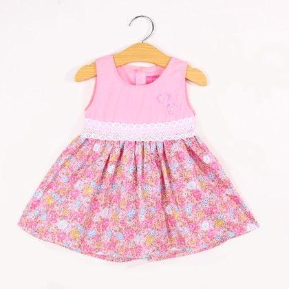 Lacy Waist Floral Print Dress- Pink - FlowerButterfly