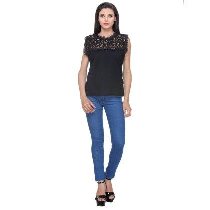 Black Cotton Poly Printed Sleeveless Top With Upper Lace Style - Varanga