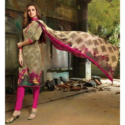 Pink Printed Crepe Designer Wear For Classic Dress Material - Balloono