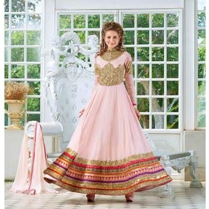 Gold And Multi Colored Embroidered Dress Material - Balloono