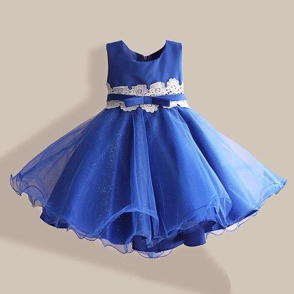 Blue Lace Applique Frock - Lil Mantra