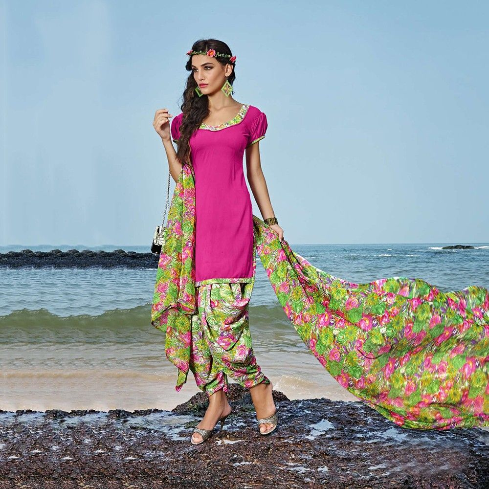 Pink With Multicolor Salwal And Dupatta Dress Material - Balloono