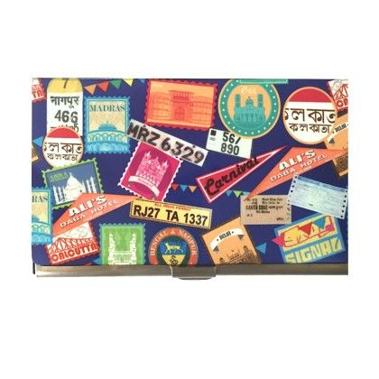 Steel Card Holder Blue Indian Journey - The Elephant Company