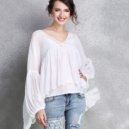 White Pleated Sleeves Top - Mauve Collection