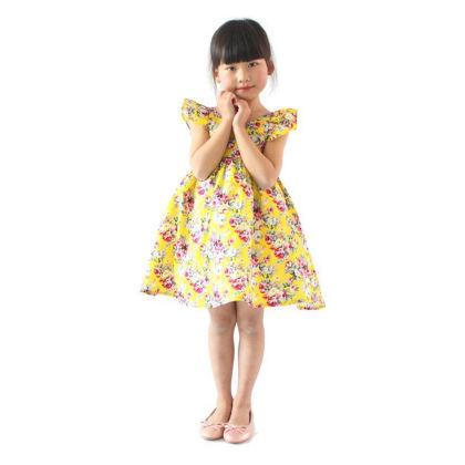 Classy Ruffle Sleeved Floral Dress - Yellow - SJ