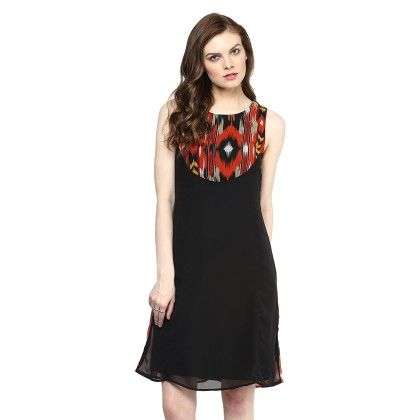 Red And Black Ikat Print Dress - StyleStone