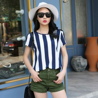 Blue And White Stripe Short Sleeve Top - Dell's World