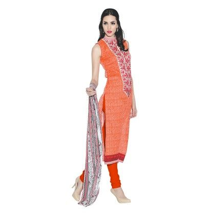 Exclusive Dress Material With All Over Front And Back Multi Design Print With Printed Dupatta Orange - Varanga
