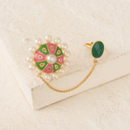 Pink-green Enamel Finish Dual Finger Statement Ring - Voylla