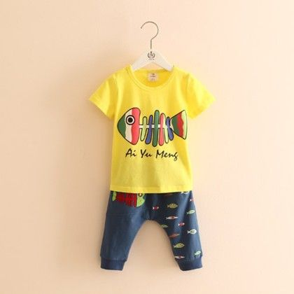 Summer Special Fish Print T-shirt With Pants - Mauve Collection