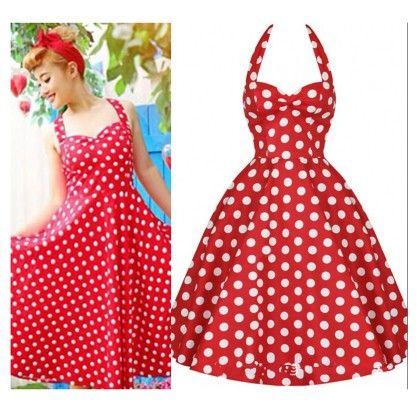 Red Polka Dot Backless Dress - STUPA FASHION