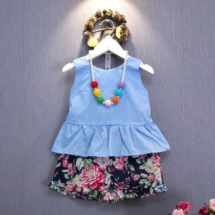 Blue Floral Print Top & Short Set - Lil Mantra