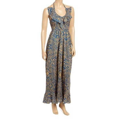 Blue & Gold Arabesque Ruffle Maxi Dress - Women - Yo Baby