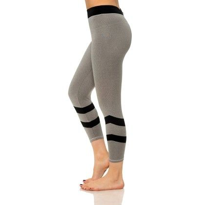 Double Stripe Capris With Media Pocket Gray And Black - S2 Sportswear