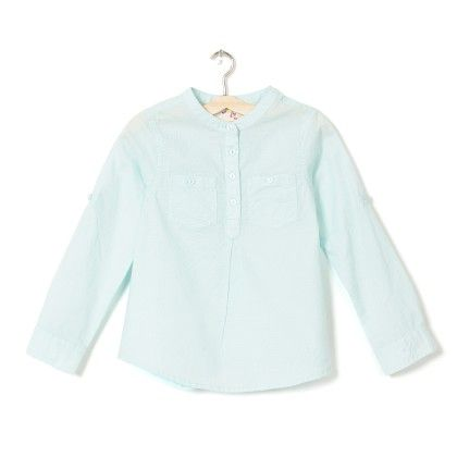 Girl's Sky Blue Printed Shirt Dress - Budding Bees