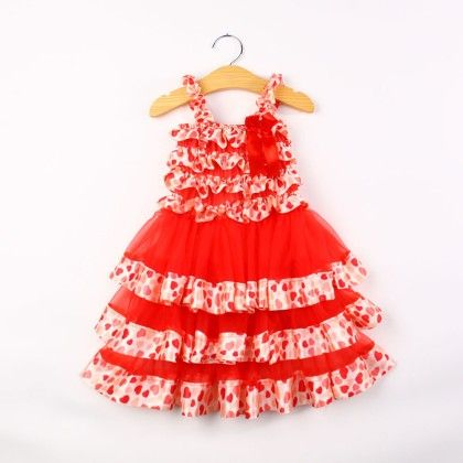 Red Polka Dotted Ruffle Dress - Pink Whale