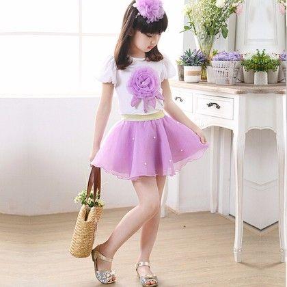 Summer Suit Style Floral Short T-shirt Plus Skirt - Purple - Tulip