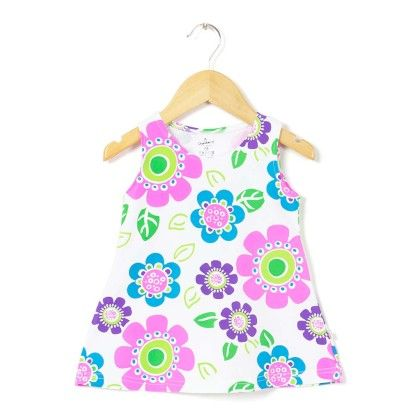 Round Neck Floral Printed Pink A Line Frock - Chocoberry