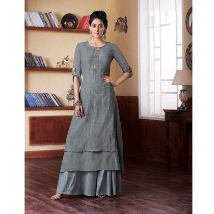 Grey Double Layered Embroidered Kurti - Jashn